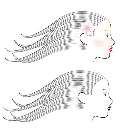 beautiful eyes: beautiful woman face with flower,  illustration