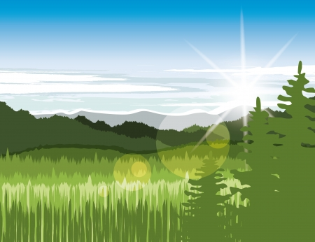horizon over land: Landscape with green meadows and mountains Illustration