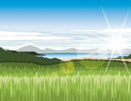 Landscape with green meadows and mountains Vector