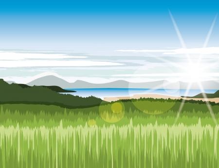 Paisaje con verdes prados y montañas
