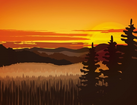 Landscape with rocky mountains at sunset Stock Vector - 18803119