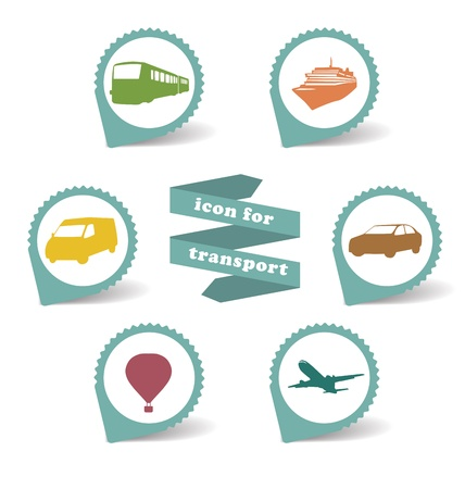 Set stickers transportation icons on white background Vector