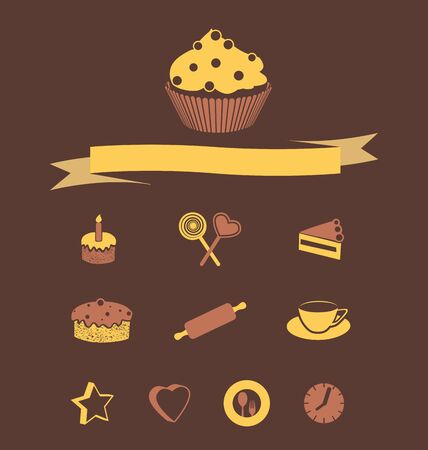 pink cake: icons for baking cakes on a brown background