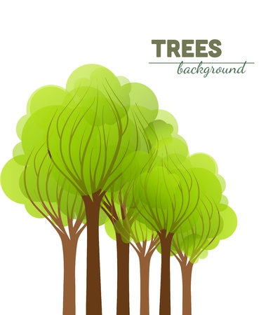 green trees on a white background  Vector