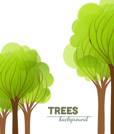 green trees on a white background Stock Vector - 18934386