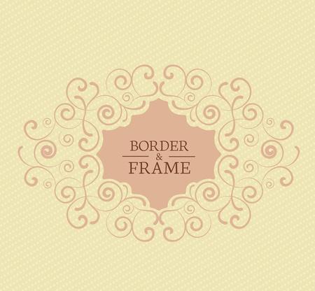 wedding backdrop: Decorative frame on a light brown background Illustration