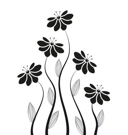siluetas de flores sobre un fondo blanco