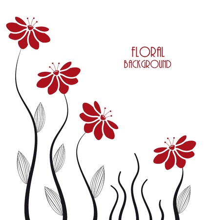 flower card: silhouettes of flowers on a white background