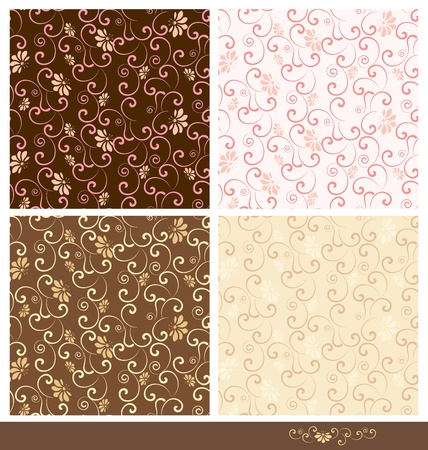 seamless pattern with swirls and flowers Vector