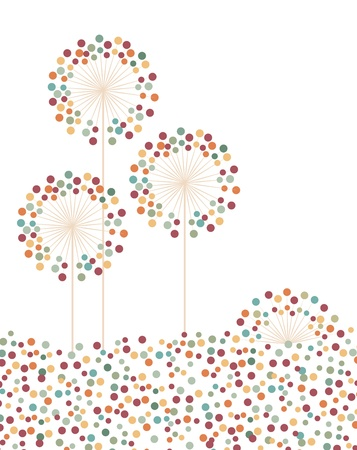 landscape with flowers made with dots Stock Vector - 19620938