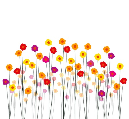 flower drawings: Flowers in the garden on a white background