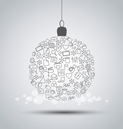 Christmas ball made of web icons Stock Vector - 19867907