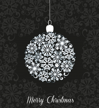 white Christmas ball on black background Stock Vector - 20220809