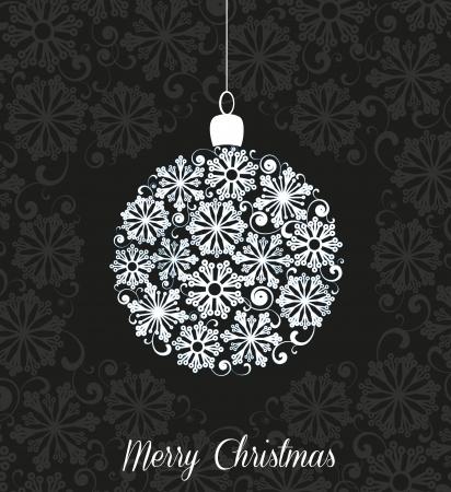white Christmas ball on black background Stock Vector - 20220809