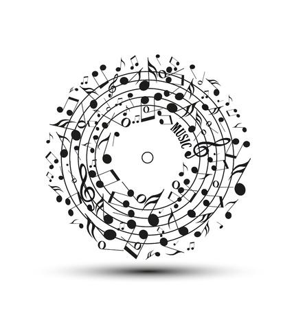 歌: 円の形で音符の装飾  イラスト・ベクター素材