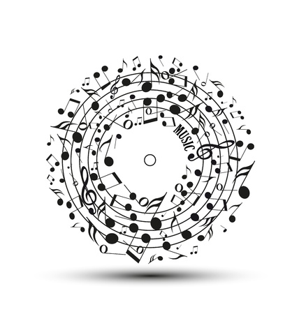 note musicali: Decorazione di note musicali a forma di un cerchio