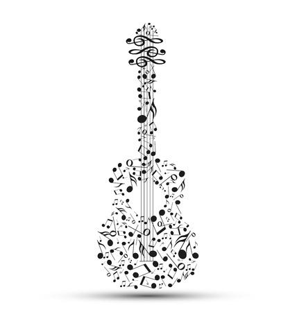 iconos de música: Decoración de las notas musicales en la forma de una guitarra