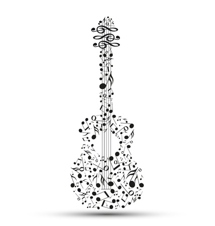 Decoration of musical notes in the shape of a guitar Vector