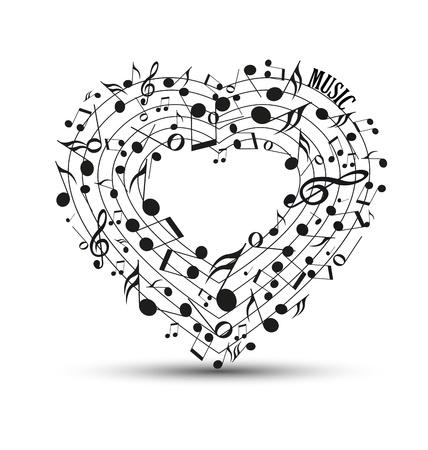 Decoratie van muzieknoten in de vorm van een hart