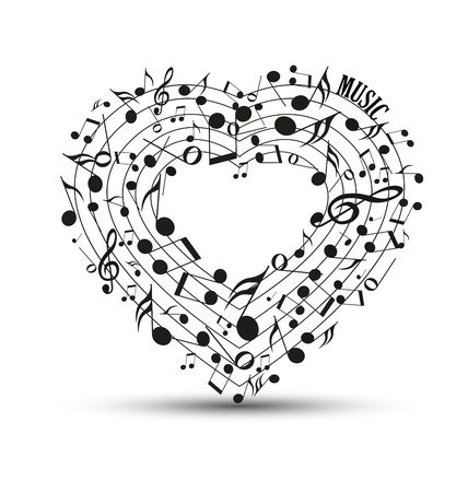 Decoration of musical notes in the shape of a heart Vector