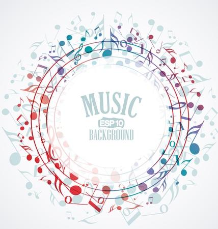 music banner: Vector muzikale achtergrond met gekleurde noten Stock Illustratie