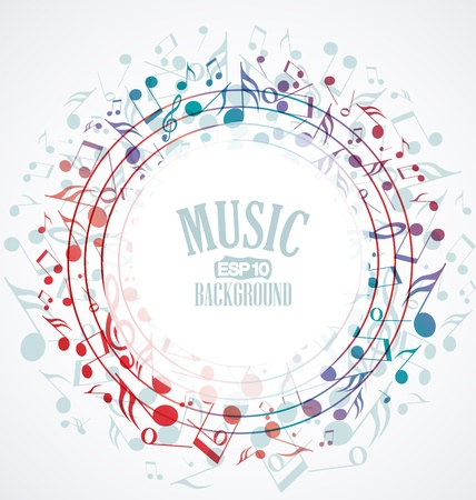 note musicali: Vettore sfondo musicale con le note colorate