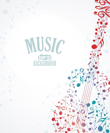 Vector musical background with colored notes Illustration