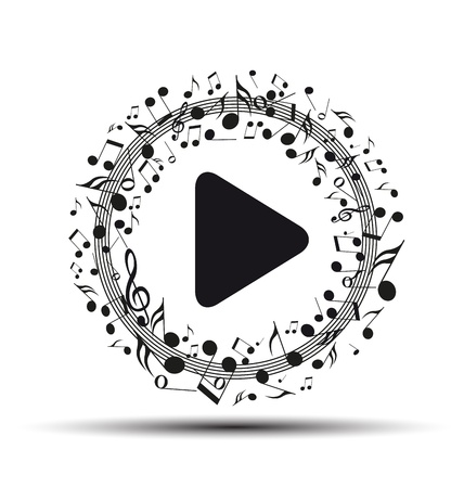 nota musical: Decoración de las notas musicales en forma de un botón de reproducción