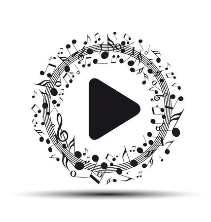 Decoratie van muzieknoten in de vorm van een play-knop