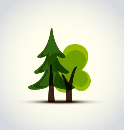 vector illustration with two green trees