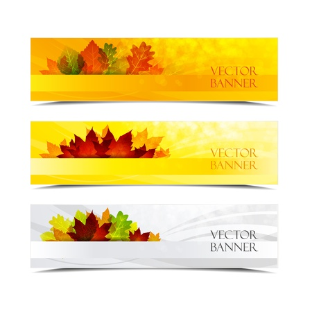 hundred autumn banners with place for text Vector