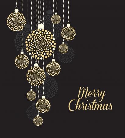 黒い背景にクリスマス ボール  イラスト・ベクター素材
