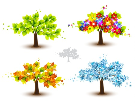 Four season trees. Spring, summer, autumn, winter  Stock Vector - 20625401
