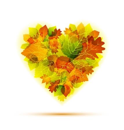 szeptember: Őszi levelek kirakott szív alakú Illusztráció