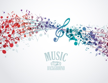 musician silhouette: Vector musical background with colored notes Illustration