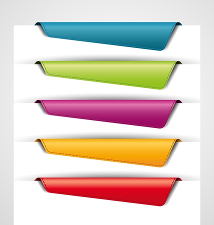 blank colored bookmarks, tags for the web Illustration