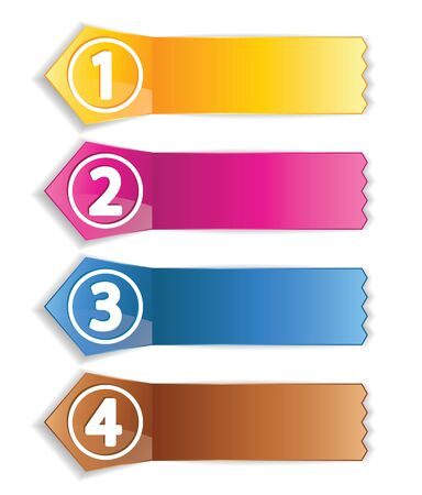color labels with numbers for various options Vector