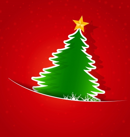 Merry Christmas card, Christmas tree and snowflakes Фото со стока - 21944519