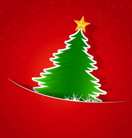 Weihnachtskarte, Weihnachtsbaum und Schneeflocken Standard-Bild - 21944519