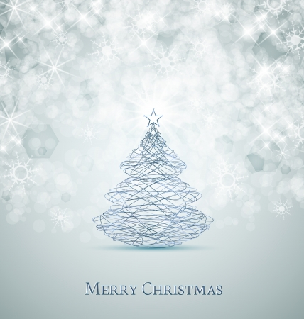 Merry Christmas card, Christmas tree and snowflakes Çizim