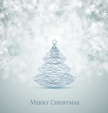 azul: Tarjeta de la Feliz Navidad, árbol de Navidad y copos de nieve