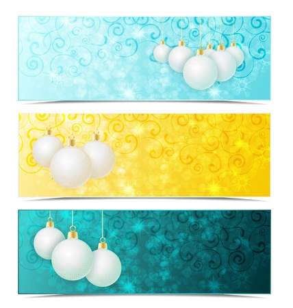 Three Christmas banners with xmas balls Vector