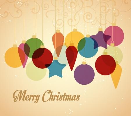 weihnachten vintage: Retro Weihnachten Hintergrund mit Weihnachtskugeln