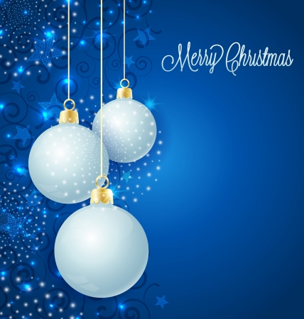 Kerst achtergrond met sterren en kerstballen Stock Illustratie