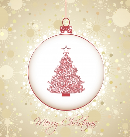 Christmas background with snowflakes tree decoration Vector