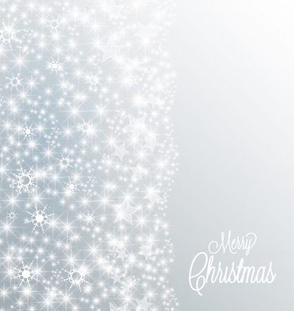 Silver christmas background with snow and stars Ilustração