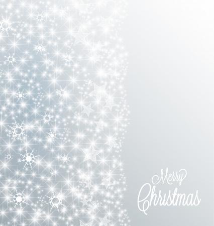 Zilveren Kerst achtergrond met sneeuw en sterren Stock Illustratie