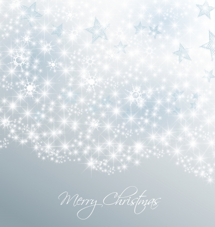 silver stars: Silver christmas background with snow and stars Illustration