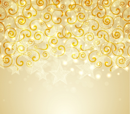 Golden christmas background with stars and swirls