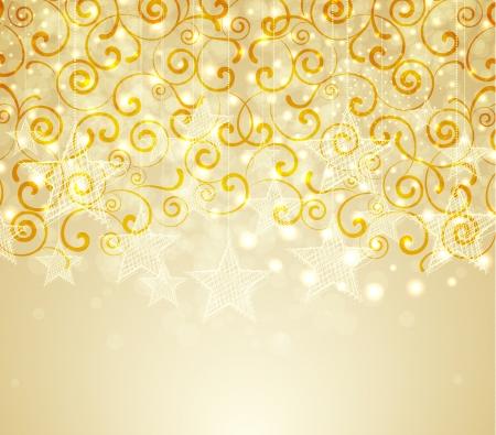 Gouden Kerst achtergrond met sterren en wervelingen